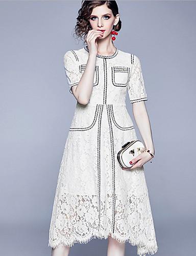 hesapli Romantik Dantel-Kadın's Temel Çin Stili A Şekilli Çan Elbise - Zıt Renkli, Kırk Yama Desen Diz-boyu