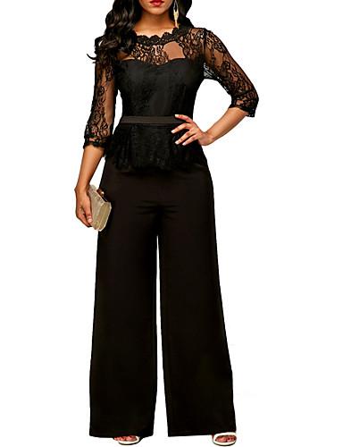 cheap Women's Jumpsuits & Rompers-Women's Active Black Wine Blue Jumpsuit, Solid Colored Lace S M L