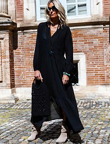 abordables Robes Femme-Femme Maxi Trapèze Robe Couleur Pleine Noir Blanche S M L Manches Longues
