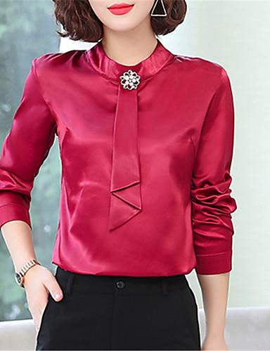 billige Topper til damer-Skjorte Dame - Ensfarget Chinoiserie Svart