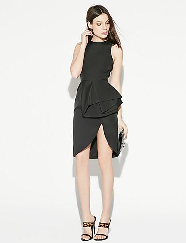 abordables Robes Femme-Femme Chic de Rue Au dessus du genou Moulante Robe - Multirang, Couleur Pleine Noir XL XXL Sans Manches