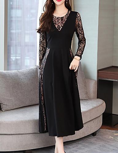 hesapli Romantik Dantel-Kadın's Temel A Şekilli Elbise - Zıt Renkli, Dantel Maksi