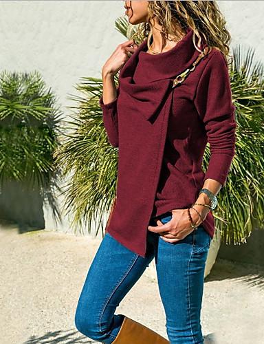 billige Topper til damer-Skjortekrage Store størrelser T-skjorte Dame - Ensfarget Vin