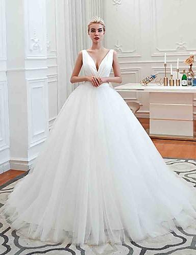 abordables Robes de Mariée 2019-Robe de Soirée Col en V Traîne Tribunal Tulle Robes de mariée sur mesure avec Ruché par LAN TING Express