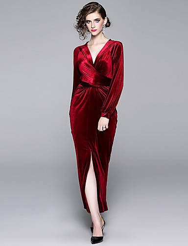 voordelige Maxi-jurken-Dames Standaard Elegant Bodycon Schede Jurk - Effen, Patchwork Trekkoord Maxi Zwart Rood