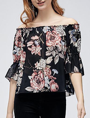 Kadın's Bluz Geometrik Temel Siyah