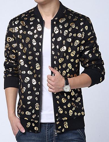 Erkek Günlük Normal Ceketler, Yuvarlak Noktalı Dik Yaka Uzun Kollu Polyester Siyah US36 / UK36 / EU44 / US38 / UK38 / EU46 / US40 / UK40 / EU48