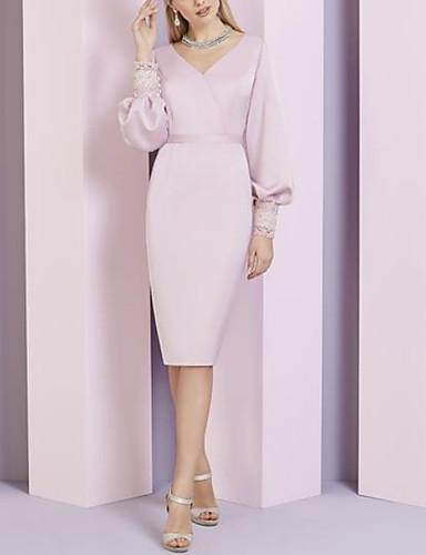 voordelige Korte jurken-Strak / kolom V-hals Tot de knie Stretchsatijn Bruidsmoederjurken met Sjerp / Lint door LAN TING Express