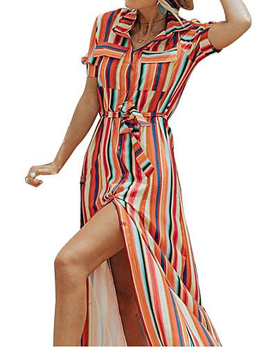 Kadın's Temel Gömlek Elbise - Zıt Renkli Gökküşağı, Bölünmüş Kırk Yama Desen Maksi