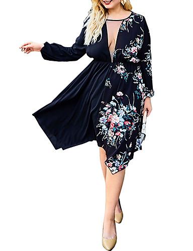 abordables Robes Femme-Femme Basique Elégant Asymétrique Trapèze Robe - Dentelle, Fleur Rose Noir XL XXL XXXL Manches Longues