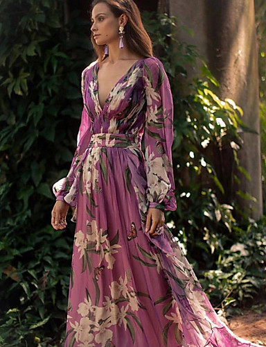 voordelige Maxi-jurken-Dames Elegant Wijd uitlopend Jurk - Bloemen, Bloemen Stijl Diepe V-hals Maxi