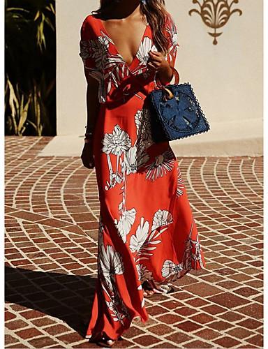abordables Robes Femme-Femme Elégant Maxi Trapèze Robe Fleur Jaune Bleu Rouge S M L Manches Courtes