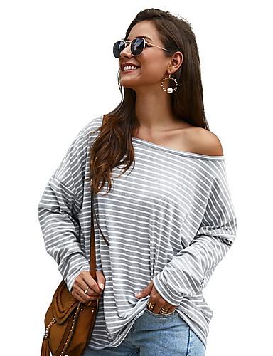billige Topper til damer-T-skjorte Dame - Stripet, Trykt mønster Svart