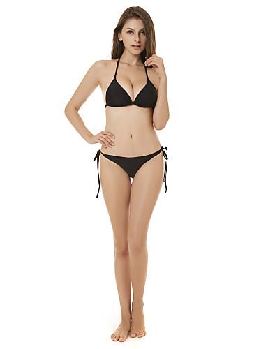 Kadın's Temel Siyah Boyundan Bağlamalı Yarım Tanga Yandan Bağcıklı Bikiniler Mayolar - Solid Arkasız Bağcık S M L Siyah