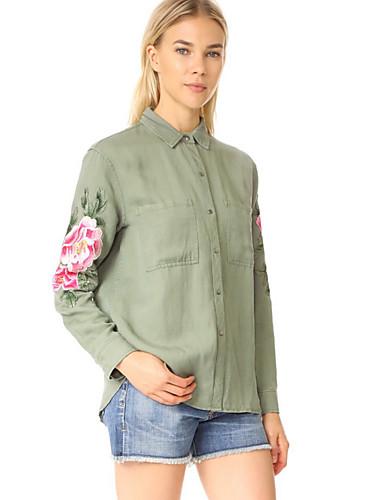 billige Topper til damer-Skjorte Dame - Blomstret Militærgrønn