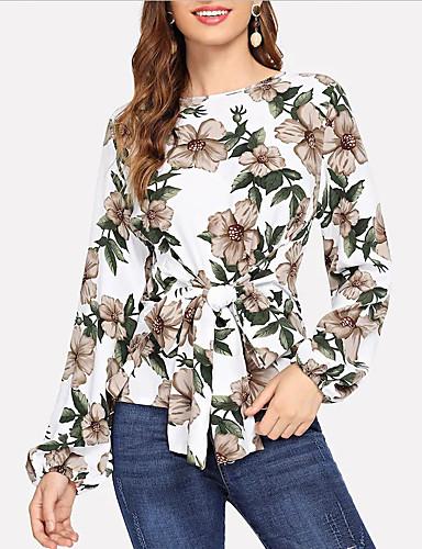 abordables Hauts pour Femmes-Tee-shirt Femme, Fleur Lacet Blanche