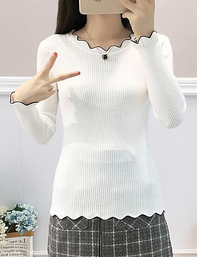 povoljno Ženske majice-Majica s rukavima Žene - Ulični šik / Elegantno Dnevno / Izlasci Jednobojni Crn
