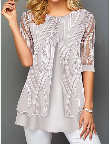 povoljno Ženske majice-Majica s rukavima Žene - Osnovni Dnevno Geometrijski oblici Sive boje