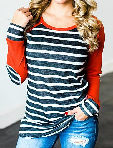 billige Dametopper-T-skjorte Dame - Stripet, Lapper / Trykt mønster Vintage / Grunnleggende Oransje