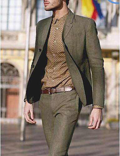 cheap 9/23-Men's Suits, Solid Colored Notch Lapel Cotton Green