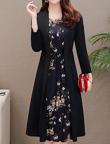abordables Robes Femme-Femme Rétro Vintage Chic de Rue Midi Gaine Deux Pièces Robe - Ruché Lacet, Fleur Noir Vin Bleu M L XL Manches Longues