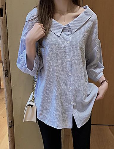 billige Dametopper-Skjorte Dame - Stripet Grunnleggende Hvit