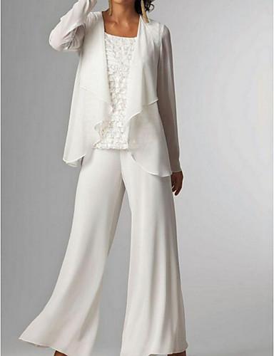 voordelige Wrap Dresses-pantsuit Met sieraad Tot de grond Chiffon Bruidsmoederjurken met Geplooid door LAN TING Express / Wrap inbegrepen