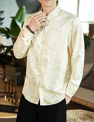 voordelige Herenoverhemden-Heren Vintage / Elegant Overhemd Effen Wijn