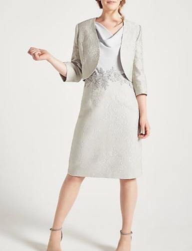 voordelige Wrap Dresses-Tweedelig V-hals Tot de knie Chiffon Bruidsmoederjurken met Appliqués / Ruches door LAN TING Express / Wrap inbegrepen