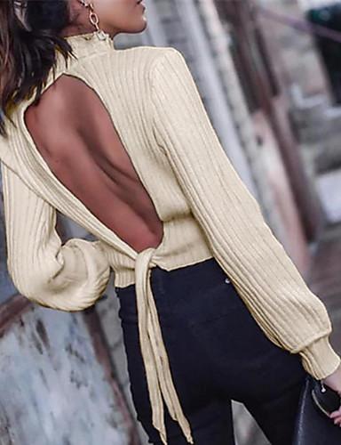 billige Dametopper-T-skjorte Dame - Ensfarget, Åpen rygg Gatemote Kakifarget