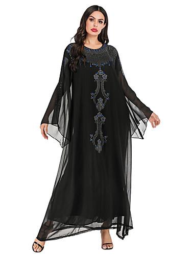 abordables Robes Femme-Femme Rétro Vintage Elégant Maxi Mousseline de Soie Abaya Robe - Paillettes, Couleur Pleine Noir Taille unique Manches Longues