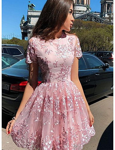 cheap Mini Dresses-Women's Elegant A Line Dress - Floral Blushing Pink S M L XL