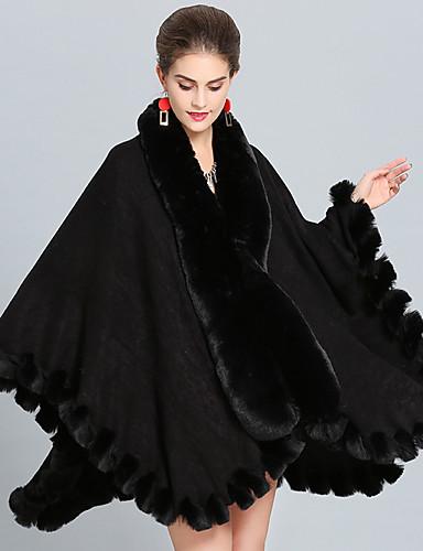 voordelige Damesjassen & trenchcoats-Dames Dagelijks Herfst winter Lang Cloak / Capes, Effen V-hals Lange mouw Katoen Zwart / Wit / Rood