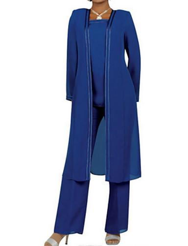voordelige Korte jurken-pantsuit Vierkante hals Tot de knie / Tot de grond Chiffon Bruidsmoederjurken met Ruches door LAN TING Express / Wrap inbegrepen