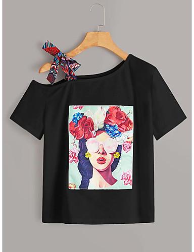 abordables Hauts pour Femmes-Tee-shirt Femme, Bloc de Couleur / Portrait Mosaïque / Imprimé Basique Noir / Blanc Noir