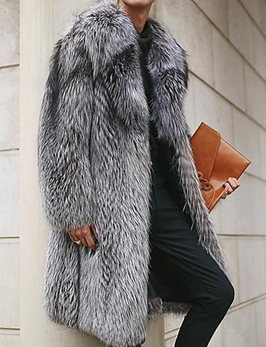 رخيصةأون معطف فراء-رجالي مناسب للبس اليومي طويلة معطف من الفرو الصناعي, لون سادة طوق توالت كم طويل فرو رمادي