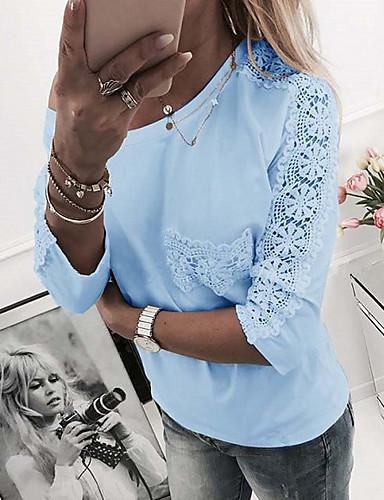 billige Dametopper-T-skjorte Dame - Ensfarget Lyseblå