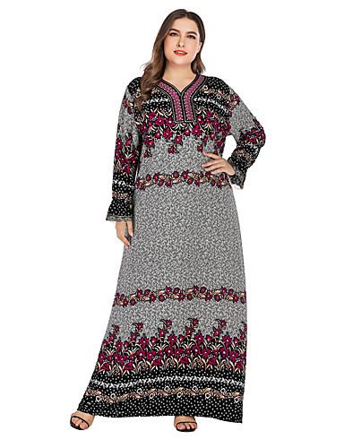 voordelige Grote maten jurken-Dames Standaard Elegant Recht Jurk - Bloemen, Kant Geborduurd Print Maxi