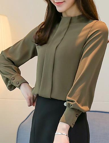 billige Overdele til damer-Dame - Ensfarvet Basale Bluse Sort