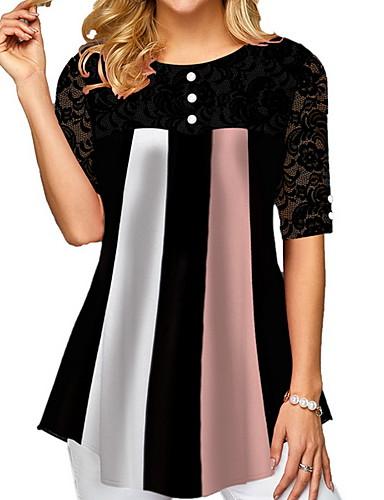 abordables Hauts pour Femmes-Tee-shirt Femme, Bloc de Couleur Imprimé Noir