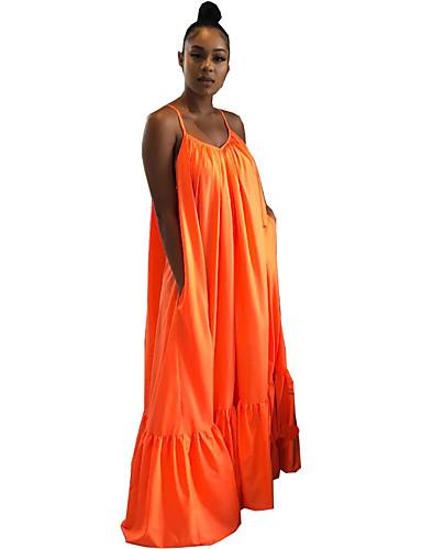 voordelige Maxi-jurken-Dames Boho Wijd uitlopend Jurk - Effen Maxi