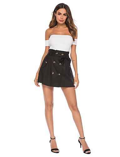 זול חצאיות לנשים-אחיד - חצאיות גזרת A בגדי ריקוד נשים שחור S M L