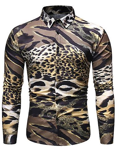voordelige Herenoverhemden-Heren Overhemd Luipaard Geel
