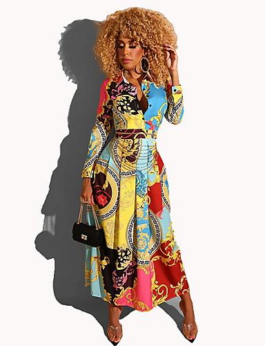 voordelige Maxi-jurken-Dames Elegant A-lijn Jurk - Geometrisch Maxi