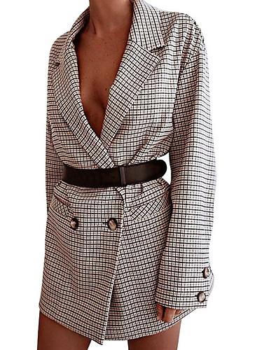 abordables Robes Femme-Femme Elégant Mini Trapèze Robe Tartan Beige S M L Manches Longues