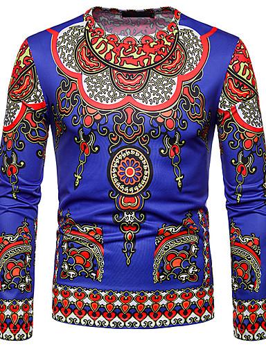 voordelige Heren T-shirts & tanktops-Heren Standaard / Elegant T-shirt Effen / Tribal Blozend Roze