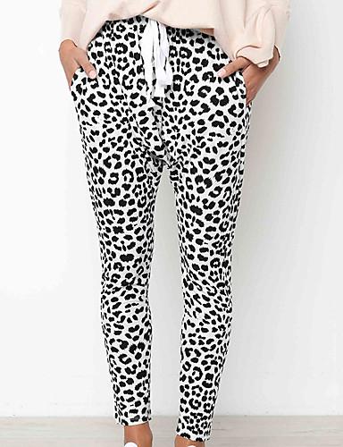 billige Nye høstantrekk-Dame Gatemote Chinos Bukser - Leopard Hvit S M L