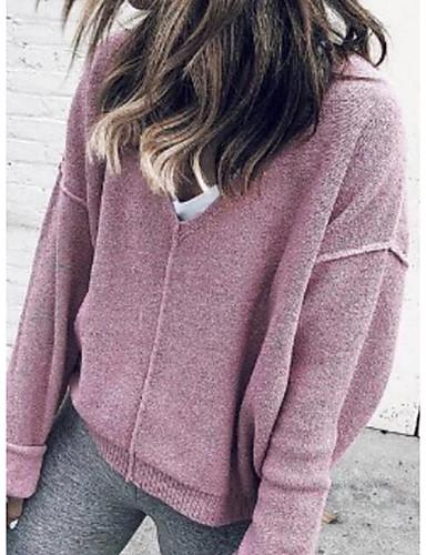 abordables Hauts pour Femmes-Femme Couleur Pleine Manches Longues Pullover, Col en V Rose Claire M / L / XL