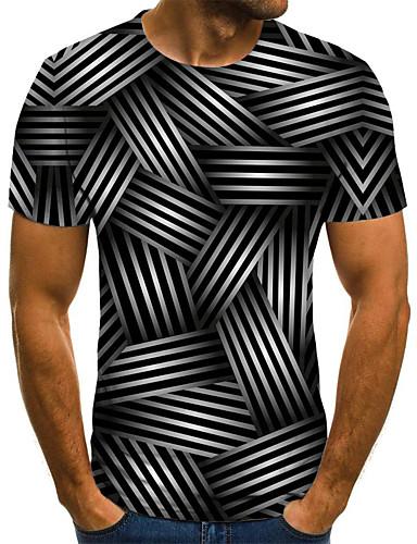 voordelige Heren T-shirts & tanktops-Heren Street chic Geplooid / Print T-shirt 3D / dier / Cartoon Zwart & Wit Zwart