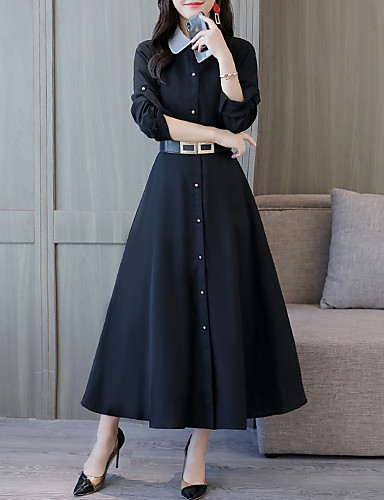 abordables Robes Femme-Femme Elégant Maxi Trapèze Robe - Lacet, Couleur Pleine Noir Bleu Rouge M L XL Manches Longues